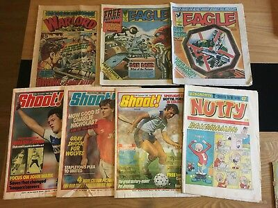 Collection Of Mixed Vintage Comics, SHOOT!, EAGLE, WARLORD AND NUTTY
