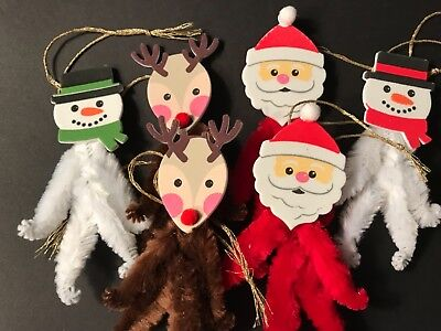 Chenille Christmas ornaments, SANTA, REINDEER, SNOWMAN, feather tree, gift tag,