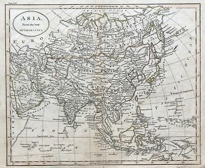 Rare Antique Map ASIA by Benjamin Baker 1815 Chinese Empire Hindostan New Guinea