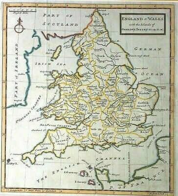 100% Original Map of ENGLAND & WALES 1720 HERMAN MOLL copperplate antique, VGC