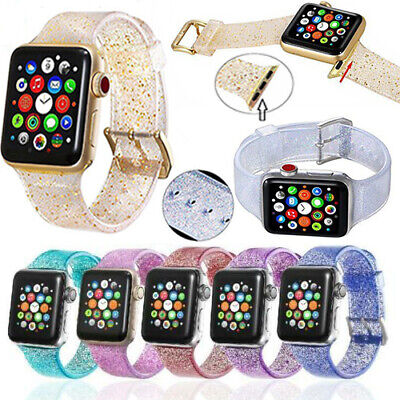 Sport Women Band Straps For Apple Watch Series 5 4 3 2 1 Bling Silicone Glitter