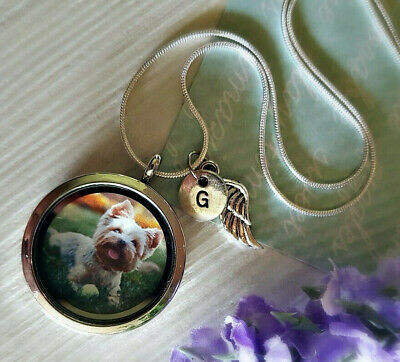 Custom Dog Memorial Necklace STERLING SILVER chain engraved letter pet loss gift