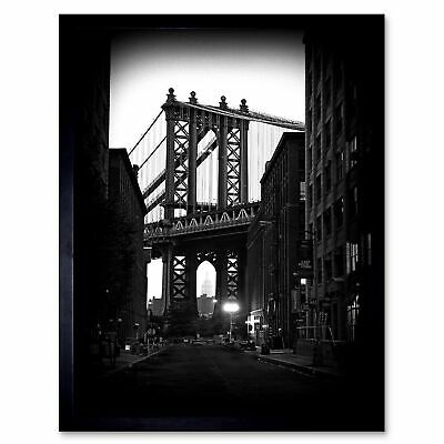 Brooklyn Bridge by Night by Mereditt.f Framed 37x37