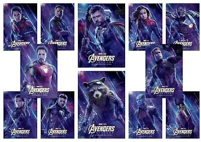 Avengers Endgame: Black Widow, Hulk, Thor  A5 A4 A3 Movie DVD Character Posters