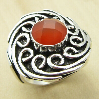 Collectible CARNELIAN OLD STYLE Ring 6.5 ! Silver Plated Jewellery ONLINE STORE