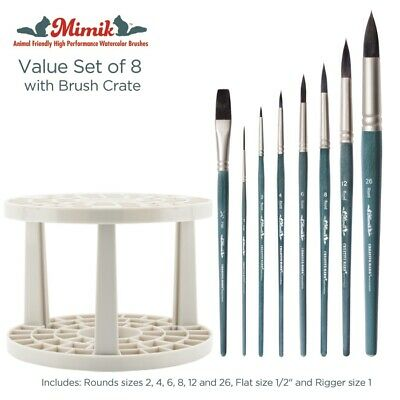 Mimik Synthetic Squirrel Value Set Of 8 Watercolor Brushes & Brush Crate