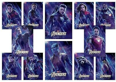 Avengers Endgame: Captain Marvel, Ronin,  A5 A4 A3 Movie DVD Character Posters