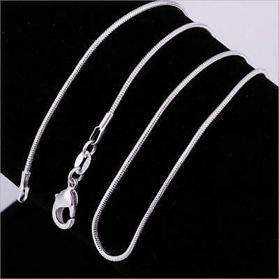 1PC Sterling Silver Plated 925 1mm Snake Chain Necklace 16 18 20 22 24 inch