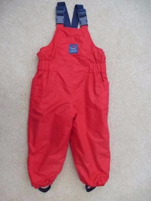JOJO MAMAN BEBE Waterproof Dungarees Trousers 12-18m FLEECE LINED All-In-One RED