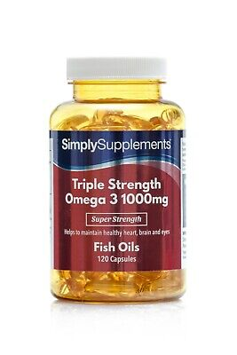 Omega 3 1000mg Triple Strength-Promotes Healthy Heart, Brain & Eyes-120 Capsules