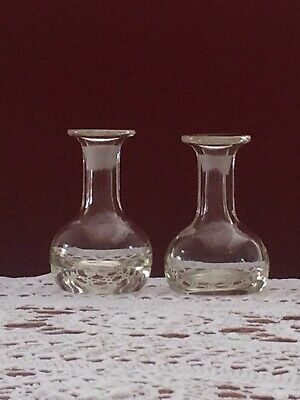 Antique Glass Flasks - Matching Pair -9 cm tall - Very Old and Very Unusual