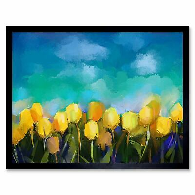 Flower Yellow Tulips Painting 12X16 Inch Framed Art Print