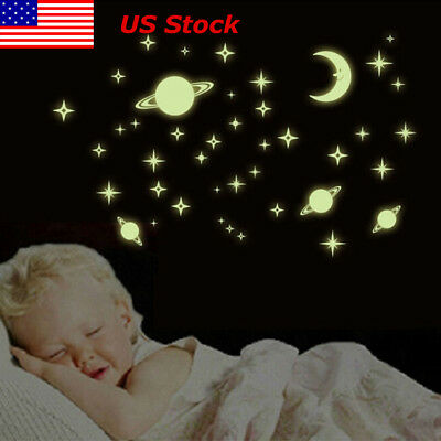 US Glow In The Dark Wall Sticker Space Planets Star Moon Kids Baby Bedroom Decor