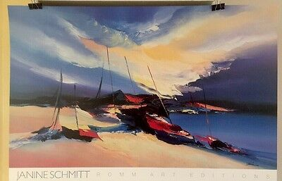 FINE ART LITHOGRAPH: Sailboat Beach By Janine Schmidt 24 X 36