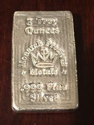 Monarch Precious Metals 3 Troy Ounce .999 Fine Silver Loaf Bar