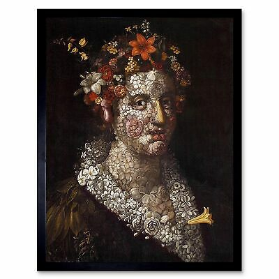 Painting Collage Flowers Lady Giuseppe Arcimboldo Flora 12X16 Inch Framed Print