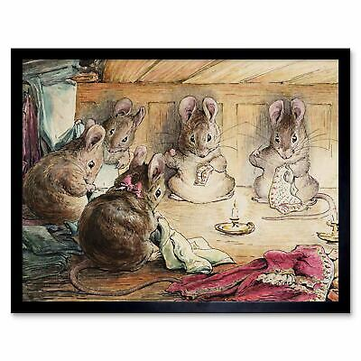 Helen Beatrix Potter The Mice Sewing The Mayors Coat 12X16 Inch Framed Art Print