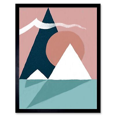 Abstract Minimalist Mountains 12X16 Inch Framed Art Print