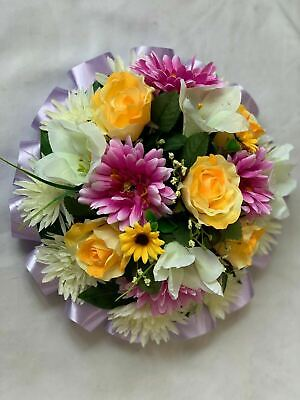 Artificial Silk Funeral Flower Spring Posy Grave Arrangement Memorial Tribute