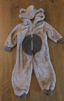 Next Baby Hooded Brown Fluffy Bear Romper All-in-one Age 9-12 Months. RRP £18
