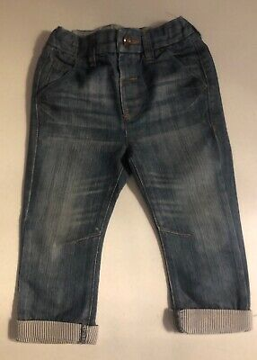 Next Boys Navy Jeans With Turn Ups Age 12-18 Months. Good Condition. RRP £12