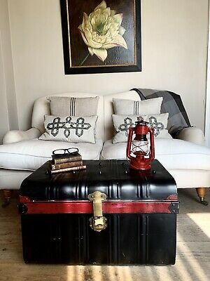 Large Vintage Metal Steamer Trunk Coffee Table, Retro Industrial Chest Black Red