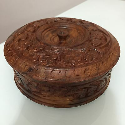 Wooden Antique Round Hand Carved Jewellery Box