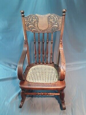 Antique Vintage Primitive CHILD'S Engraved Wood ROCKER Rocking Caned Seat CHAIR