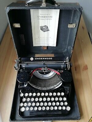 Vintage UNDERWOOD Standard Four Bank Portable Keyboard Typewriter + Case+ manual