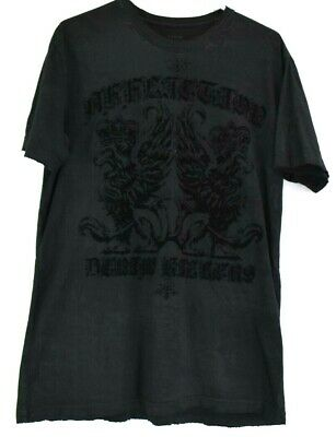 Affliction Men L Distressed Velvet Graphic All Over Print T-Shirt Tee All Black