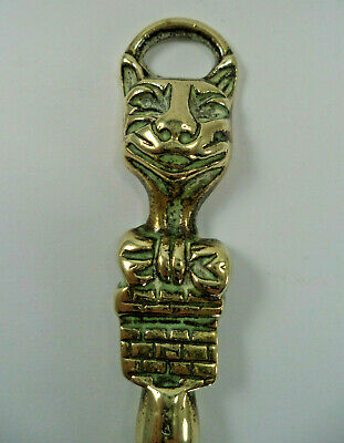 Vintage BRASS TOASTING FORK Hanging Hook CHESHIRE CAT Finial, Curved Prongs 42cm