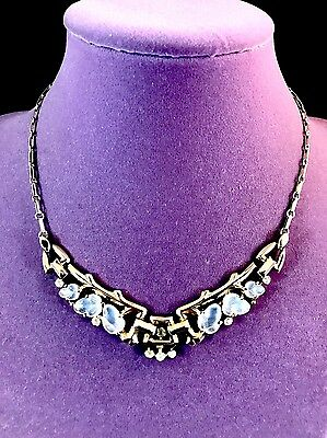 Rare 1948 Crown Trifari Philippe Gold-Tone Floral Moonstone Fruit Salad Necklace