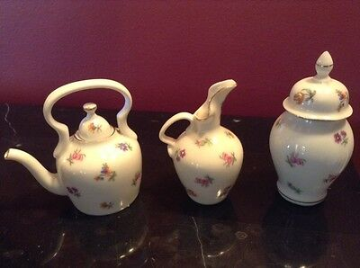 VTG White Bone China Teapot Creamer and Sugar Victoria Czechoslovakia