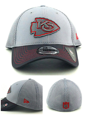 wholesale dealer 2fdf6 6007a Kansas City Chiefs New Era 39Thirty Neo Gray Red Flex Fit Fitted Hat Cap M