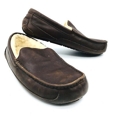 f925975c220 MENS UGG AUSTRALIA Ascot Brown Leather Slippers S/N 1184 Sizes 9 ...