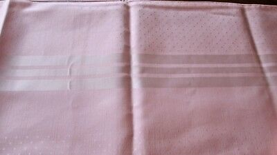 vintage but unused tablecloth pink woven w rayon self-striped + dots, 69x49""