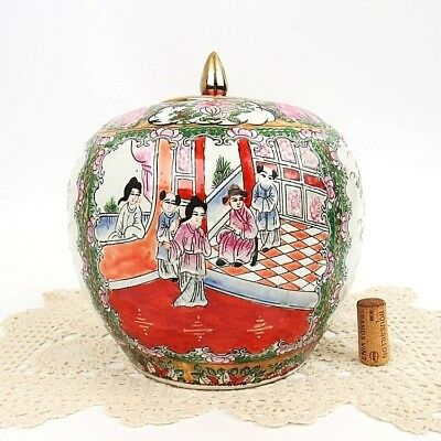 Antique Chinese Ginger Jar Famille Rose Medallion Signed Da Qing Qianlong Nian Z