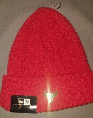 newest collection b31ef 80e30 New Era Nba Chicago Bulls Badge Slick Knit Beanie Mens Hat Red Gold 20938693