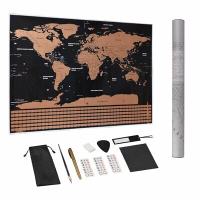 Deluxe Scratch Off World Map Personalized Travel Poster Vacation Log Flag Gift