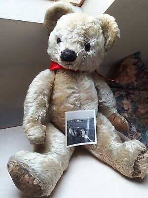 Billy Fab BIG Old 1950s Jointed Mohair Chad Valley Bear, Growl, Photo Provenance