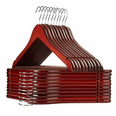 20 Pcs Wood Hangers with Notches Chrome Swivel Hook for Dress Clothes Coats