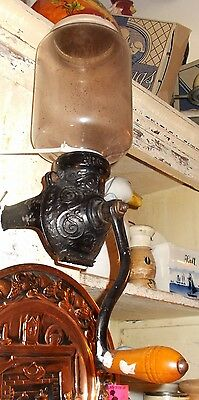 Antique Fully Functional Arcade Cast Iron Wall Mount Coffee Grinder
