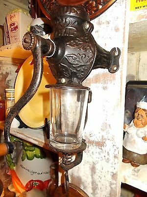 Antique Fully Functional Arcade Crystal Cast Iron Wall Mount Coffee Grinder