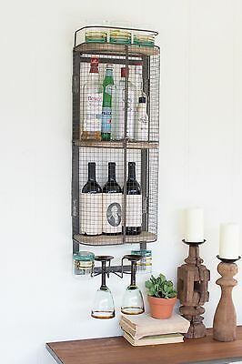 Industrial Style Wire Wine Liquor Bottle Holder Bar Storage Wall Mounted 36.5''H