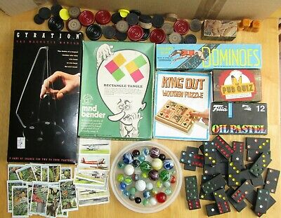 Collection of Vintage and Retro Boxed Games Marbles Cigarette cards Pastels etc