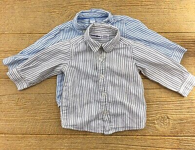 Lot Of 2 Size 6-9 & 12 Months Baby Boys Shirt Long Sleeve Dress Striped Blue