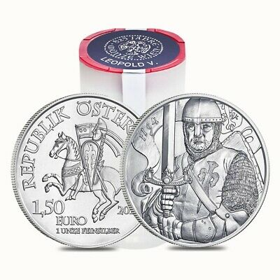 Roll of 20 - 2019 1 oz Austrian Silver Leopold V Coin BU - 825th Anniversary of