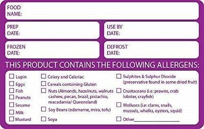 Allergen/Allergy Date Info Food Safety Label - Removable adhesive Large 60x95mm