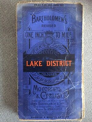 Bartholomews Lake District, 1931, Revised One Inch to One Mile. Cloth Fold map.