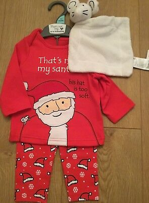 Mothercare Age 1-3 Months That's Not My SANTA Christmas Pyjamas & Comforter